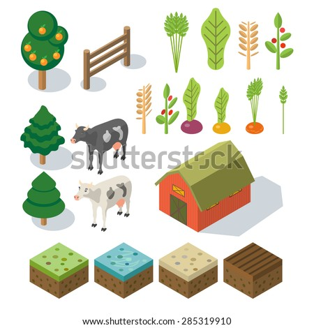 isometric farm in village