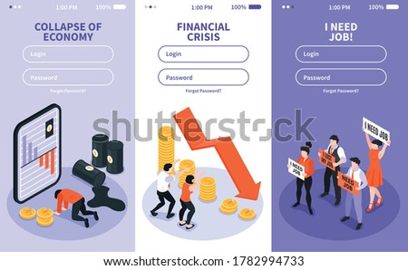 Isometric financial crisis set of three vertical banners with website fields for entering username and password vector illustration