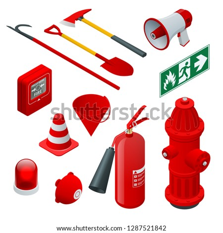 Isometric Fire safety and protection. Flat icons extinguisher, hose, flame, hydrant, protective helmet, alarm, axe, shovel, conical bucket and exit sign. Vector illustration