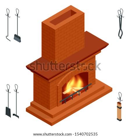 isometric fireplace of brick
