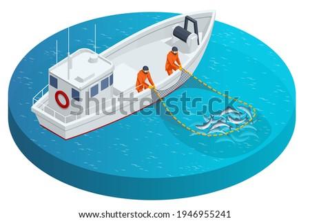 Isometric fishing schooner, fishing boat or ship. Fishermen pulling up a net filled with fish. Sea fishing, ship marine industry, fish boat