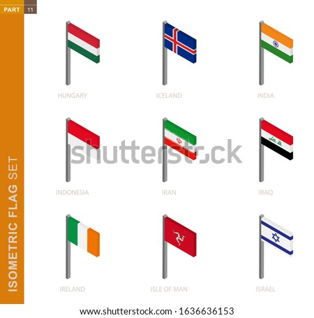 Isometric flag set, Flagpole in Isometric dimension. Collection of nine 3D vector flag. Foto stock ©