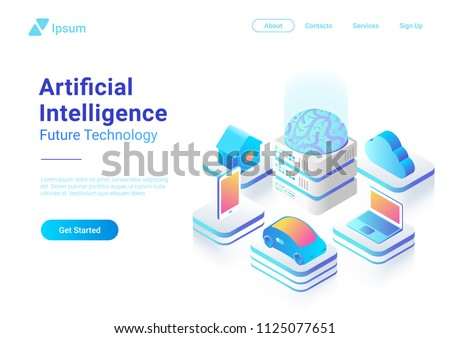 Isometric flat Artificial Intelligence digital Brain future technology colorful concept vector design. Laptop Electric Car Smartphone Brain House objects of AI.