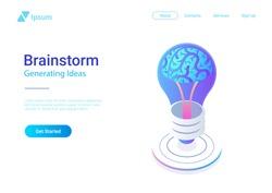 Isometric Flat Brainstorm ideas vector illustration. Brain in Light Bulb Lamp generate think creative innovation idea isometry 3D concept.