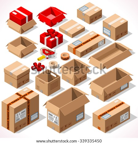 Isometric Flat Cardboard Carton Box Pack Set Pack Sealed Tape Dispenser Gift Small Delivery Format. Isometric 3D Pack Vector Flat Style Isolated Box Background Delivery Object Infographic Gift Package