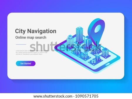 Isometric flat 3D City Map in Mobile Phone Navigation vector illustration concept.