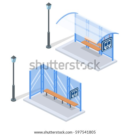 Isometric flat 3D concept vector illustration city bus stop with street light. Set of collection