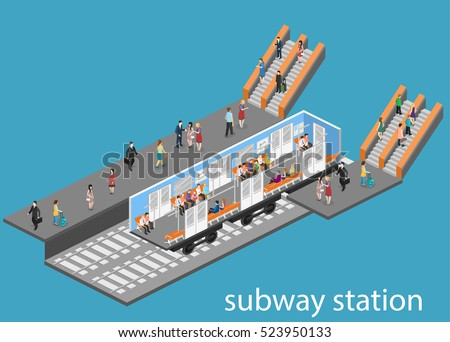 Isometric flat 3D concept vector interior of metro subway train carriage. underground station