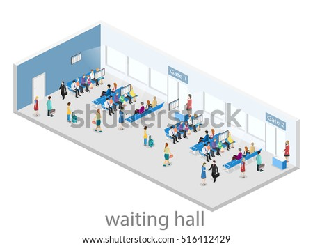 Isometric flat 3D concept vector interior of waiting room in airport . living room inside. people waiting for the start of landing on aircraft