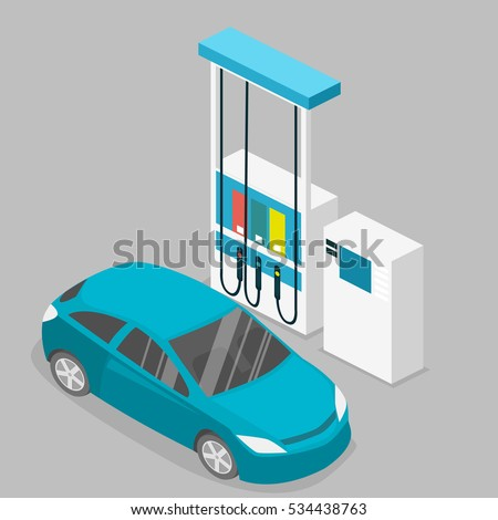 Isometric flat 3D concept vector outside Gas station, petrol station