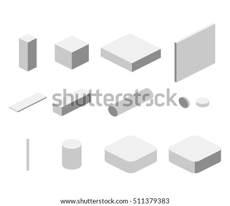 Isometric flat 3D concept vector simple elements cube, square, rectangle, pipe. Objects to create isometric illustration