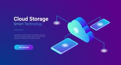 Isometric Flat Data Cloud Storage Network vector illustration. Online Computing Hosting 3D isometry concept. Tablet PC, Mobile phone smartphone objects.