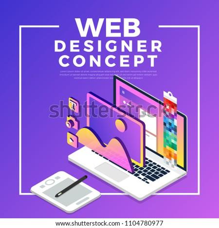 Isometric flat design concept web designer. Vector illustration. Website layout design.