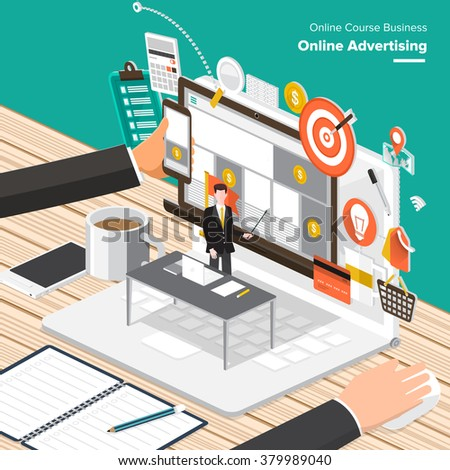 Isometric Flat design concepts for Online Advertising, Partnership Relation, Research Knowledge. Concepts for web banners and promotional materials.