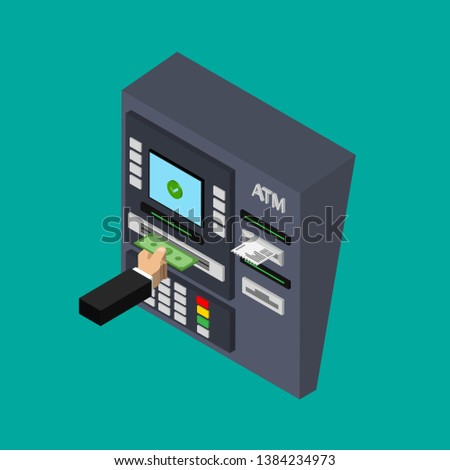 Isometric flat design of ATM machine isolated on color background. Withdrawing money from ATM. Using automat terminal. Vector illustration.