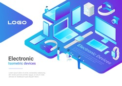 Isometric Flat electronic devices ultraviolet collection: laptop, computer, monitor, vr helmet, smartwatch, smartphone, tablet pc, photo camera, storage.