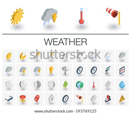 Isometric flat icon set. 3d vector colorful illustration with meteo symbols. Weather cast, cloud, rain, snow, moon, thermometer, umbrella colorful pictogram Isolated on white