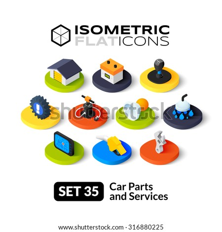 isometric flat icons  3d