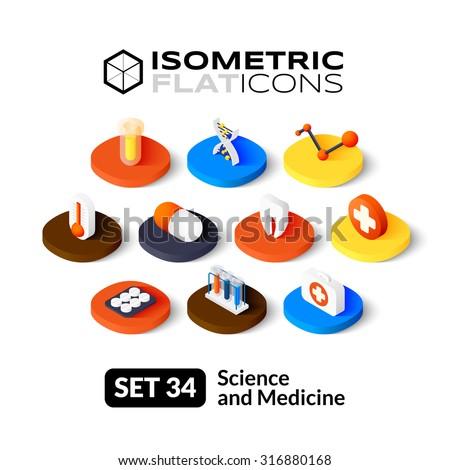 isometric flat icons  3d