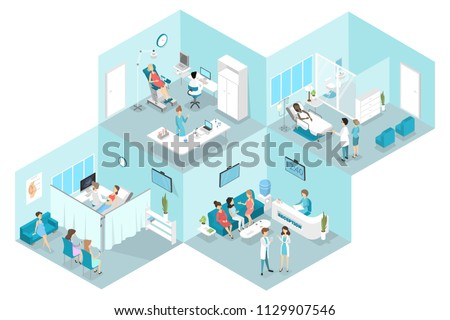 Isometric flat interior of gynecology with reception, laboratory, waiting and examination rooms. Doctors treating female patients in the hospital. Flat vector illustration
