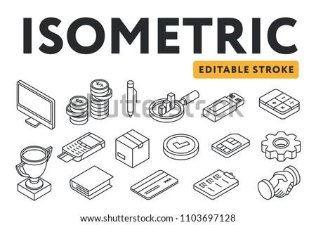 Isometric Flat Line Icon Set. Computer, coins, pen, analysis, graph, usb flash drive, calculator, trophy cup, pin pad, box, SIM, cogwheel, book, credit card, clipboard, handshake. Editable stroke.
