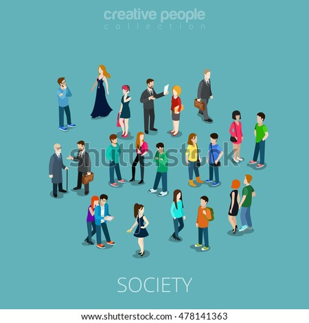 Isometric flat people crowd vector illustration. Different teens and adults stand, talk, call phone and listen to music. Society members, social network 3d isometry concept.