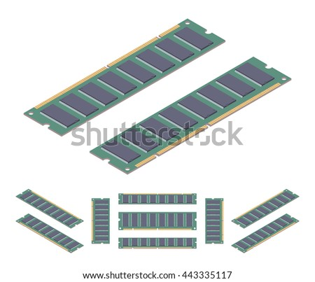 Isometric flat ram memory card. The objects are isolated against the white background and shown from different sides