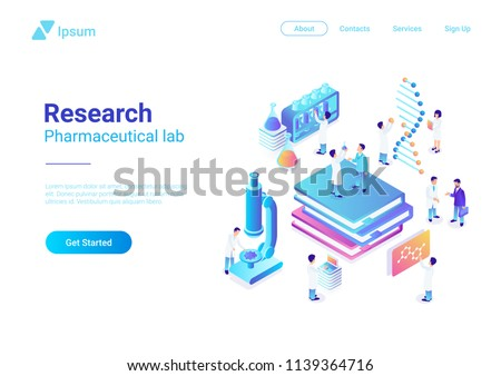 Isometric Flat Research Pharmaceutical Laboratory vector illustration. Scientists working with microscope test tubes DNA in Lab.