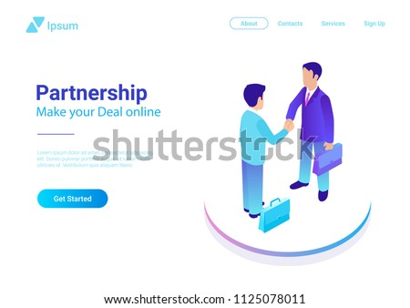Isometric Flat two Businessmen making Deal vector illustration. People shaking hands making contract online. Partnership concept.
