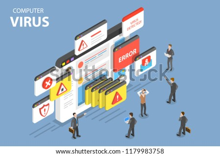 Isometric flat vector concept of computer virus, alert notification, hacking, cyber security, fraud internet error.