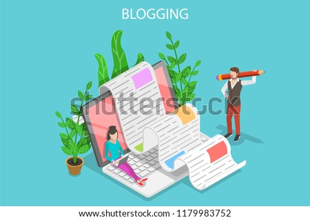 Isometric flat vector concept of creative blogging, commercial blog posting, copywriting, content marketing strategy.