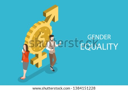 Isometric flat vector concept of gender equality, male and female equal rights and opportunities.