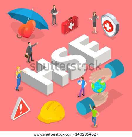 Isometric flat vector concept of HSE, practical aspects of environmental protection and safety at work, health safety environment.