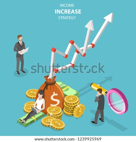 Isometric flat vector concept of income increase strategy, financial growth, increasing efficiency.