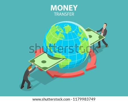 Isometric flat vector concept of international money transfer, online banking, financial transaction.