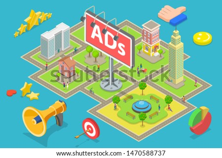 Isometric flat vector concept of outdoor advertising, city advertisement billboards and banners, outbound marketing campaign.