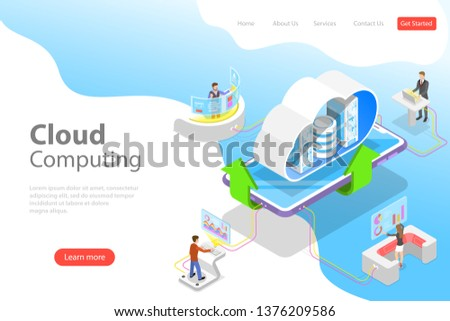 Isometric flat vector landing page template of cloud computing technology, data storage and hosting, big data.