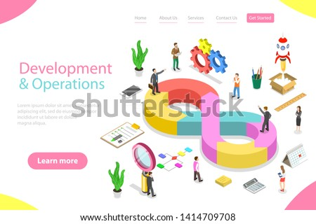 Isometric flat vector landing page template of DevOps, development and operations, software development, testing and support.