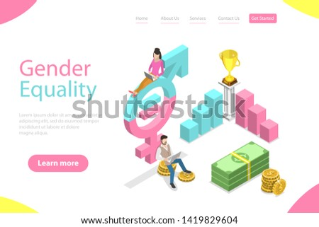 Isometric flat vector landing page template of gender equality, male and female equal rights and opportunities.