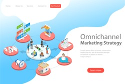 Isometric flat vector landing page template of omnichannel, several communication channels between seller and customer, digital marketing, online shopping.