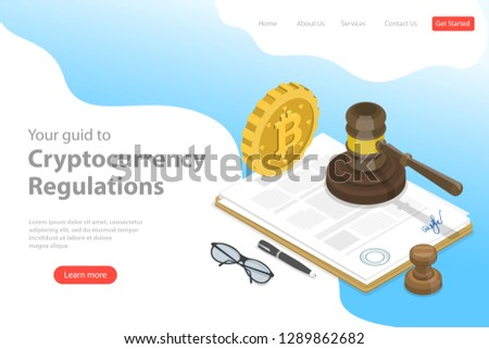 Isometric flat vector landing page template of regulation of cryptocurrency, digital currency legislation, legislative control.