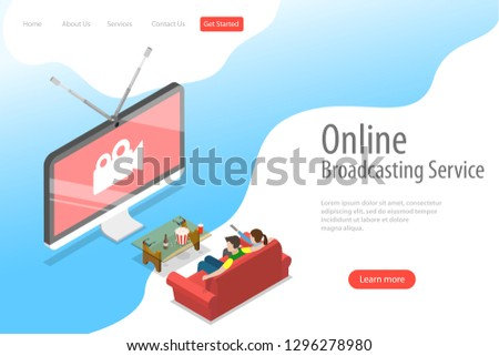 Isometric flat vector landing page template of smart TV, home entertainment, movie online, streaming.