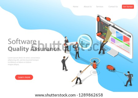 Isometric flat vector landing page template of software quality assurance, SQA, product testing and debugging, programming and coding.