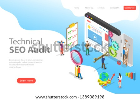 Isometric flat vector landing page template of technical SEO audit, search engine strategy, content marketing, website development.