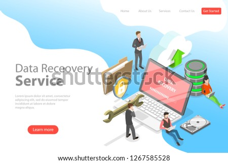 Isometric flat vector landing pate template of data recovery services, data backup and protection, hardware repair.