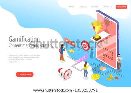 Isometric flat vector landing pate template of gamification, interactive content, customer engagement.