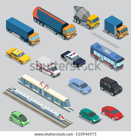 Isometric flat vehicle, railway, flying, passenger and cargo transport vector illustration set. 3d Isometry City service and specialized transportation collection.