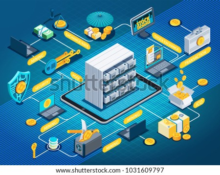Isometric flowchart on blue background with blockchain, mining cryptocurrency, exchange rate, investment, ico, mobile devices, vector illustration