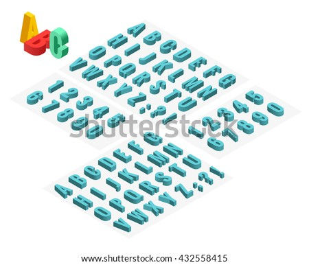 Isometric font alphabet with drop shadow on background.  Flat Vector illustration.  Isometric abc. 3d Letters, numbers and symbols. Three-Dimensional stock vector typography for headlines, posters etc