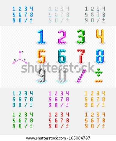 Isometric font from the cubes. Numbers